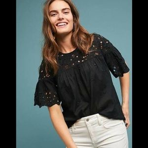 Maeve Anthropologie Black Eyelet Cotton Top